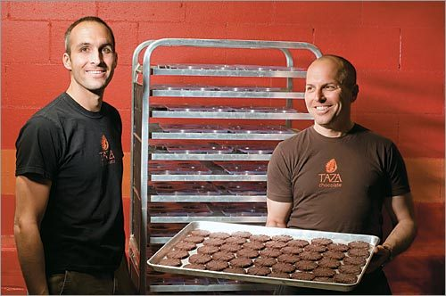 Alex Whitmore, left, and Larry Slotnick, founders of Taza Chocolate.
