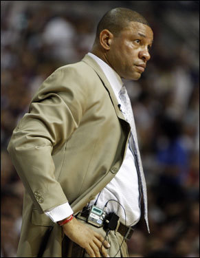 Celtics head coach Doc Rivers watched play in the first half.