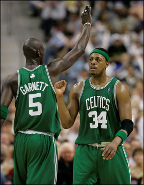 Paul Pierce (right) and Kevin Garnett (left) celebrated in the final moments of Game 6 of the Celtics victory over the Pistons, sending them in the NBA Finals for the first time since 1987.