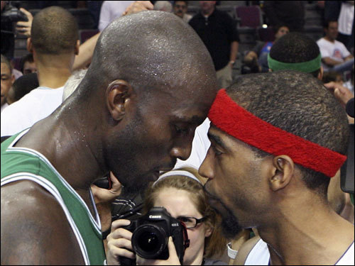 Kevin Garnett (left) talked to Pistons guard Richard Hamilton (right) after the Celtics' victory in Game 6.