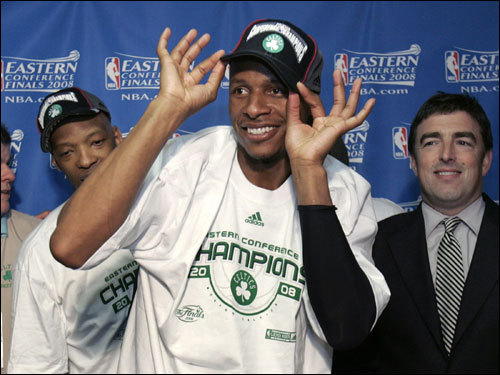 Ray Allen modeled his Eastern Conference Championship hat after the Celtics victory.