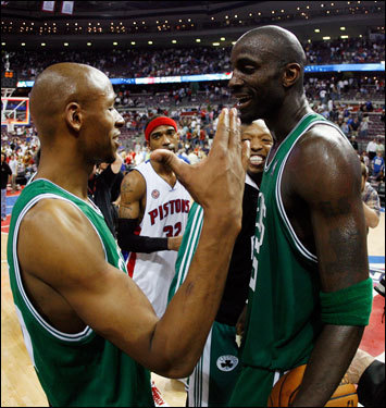 Ray Allen (left) and Kevin Garnett (right) celebrated on the court after the game.