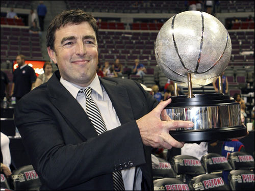 Wyc Grousbeck, managing partner of the Boston Celtics, held the Eastern Conference Champions trophy.
