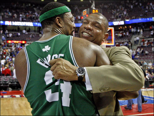 Two holdovers from the recent, unsuccessful Celtics teams, Paul Pierce (left) and coach Doc Rivers (right) embraced on the court after the game.