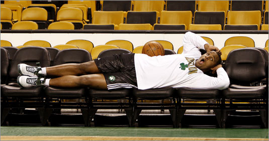 Celtics rookie Glen 'Big Baby' Davis, seen above resting before Game 7 of the Eastern Conference semifinals, said getting to the NBA Finals could be a 'once in a lifetime' accomplishment.