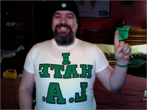 Lee broke out this 1980s T-shirt to rekindle the Celtics-Lakers rivalry. And no, the text isn't really backwards, Lee just took the photo of himself in the mirror. Send us your Celtics fan photos!