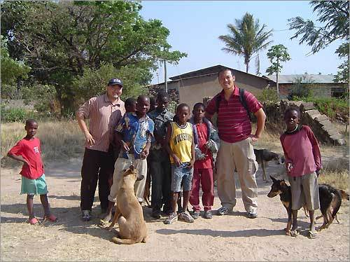 Norman Choe of Natick and David Im of Somerville spread Red Sox Nation on a 2005 church mission trip in Tabora, Tanzania