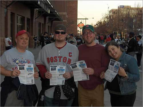 (Left to right) Jonathan Towslee of Dorchester, Larry Bushee of Essex Junction, VT, Sean Hines of Stowe, VT and Nermin Khalil of Essex Junction pose outside of Coors Field before Game 4 of the 2007 Worlds Series.