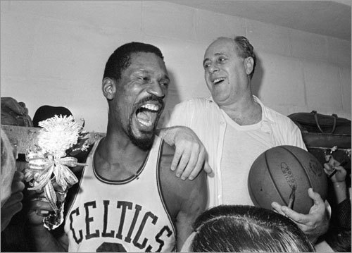 Game 7, 1966 -- Red's last stand The Celtics' 10-point lead is cut to two in the late stages, but Boston holds on to a 95-93 win as Red Auerbach (pictured, right) enters retirement with his ninth NBA title. A premature celebration breaks out with four seconds to go as fans rush the Garden court; the Celtics dribble out the clock in the chaos.