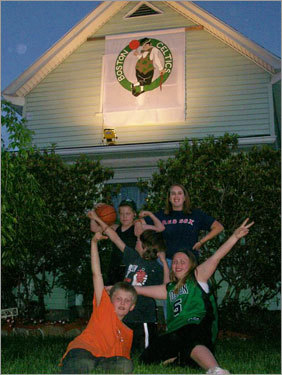 Angel and her family, all of Raymond, N.H., are huge Celtics fans, and they have the decorations to prove it. Now that's a banner. Send us your Celtics fan photos!