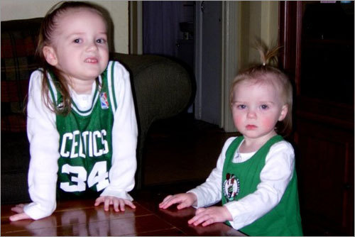 Kayla and Jordan of Revere have their game faces on for the Celtics' playoff series against the Pistons. Send us your Celtics fan photos!