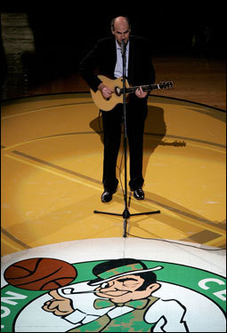 Folk singer James Taylor sang the National Anthem prior to tip off.