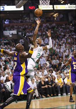 Celtics guard Ray Allen took a shot in the first quarter.