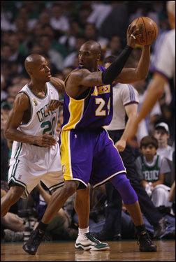 Kobe Bryant (right) posted up Ray Allen (left) in the first half.