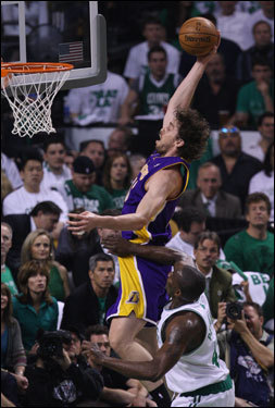 Lakers center Pau Gasol tapped in shot during first half action.