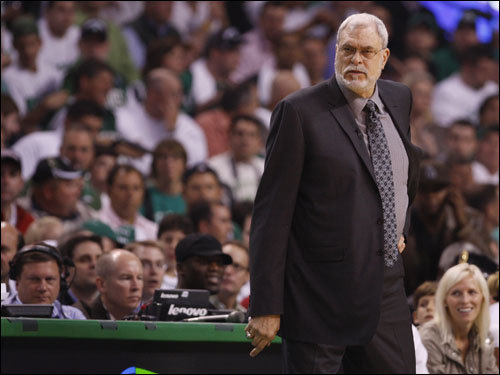 Lakers coach Phil Jackson looked on during the game.