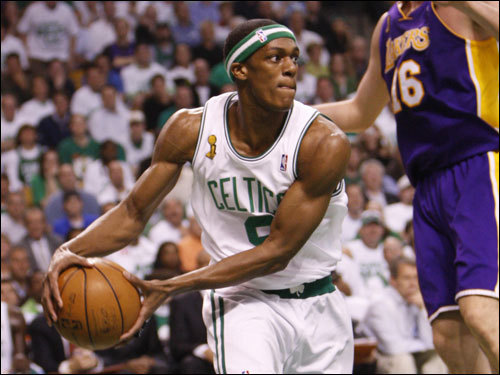Celtics point guard Rajon Rondo looked to pass in the first half.