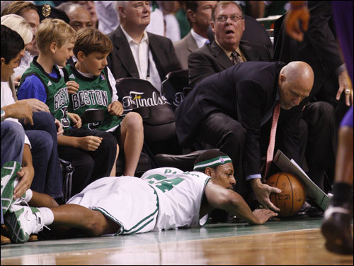 Paul Pierce laid on the floor after diving for a loose ball.