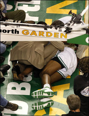 Paul Pierce laid on the floor after straining his knee in the third quarter.