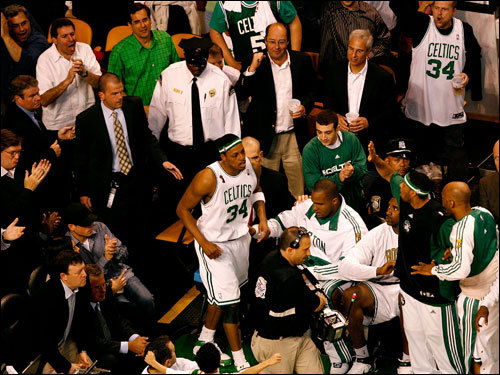 The Garden crowd erupted when Paul Pierce jogged out of the locker room in the third quarter.
