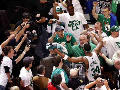 Paul Pierce celebrated with Celtic fans after helping his team take Game 1 of the NBA Finals.