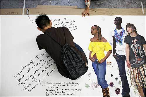 Terence Tran of Medford wrote a response to violence on a mural by Chinese artist Liu Xiaodong at the Museum of Fine Arts School in Boston. The mural depicted local students affected by violence.