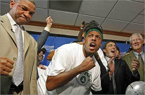 Coach Doc Rivers, Paul Pierce, Celtics owner Wyc Grousbeck, and former Celtics star John Havlicek celebrated the Eastern Conference Championship victory against the Pistons.