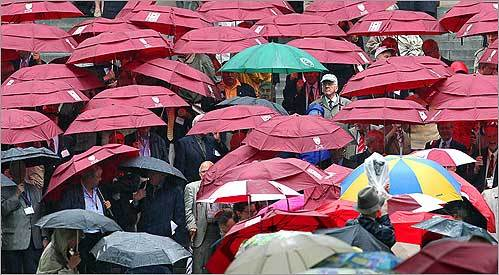 Umbrella-toting members of the Harvard University Class of 1958 jockeyed into position to have their reunion picture taken on the steps of Widener Memorial Library, overlooking Harvard Yard, on Harvard Class Day.