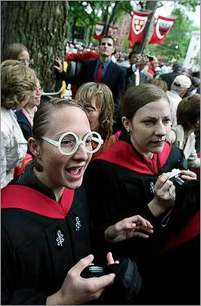 Harvard University graduate student Stacey Mervin (in Harry Potter-like glasses) spied Harry Potter author J.K. Rowling as she was leaving after receiving an honorary Doctor of Letters at Harvard University's commencement and giving a speech.