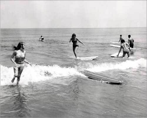 Surfers at Nantasket Beach in August 1966.