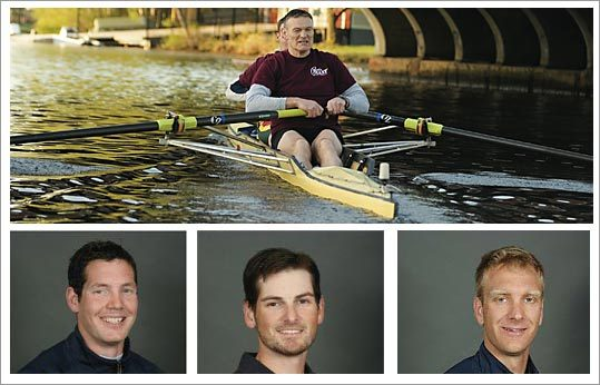 Above, Gentle Giant founder Larry O'Toole rows on the Charles River with former employee Al Gehant. From left, former Gentle Giant movers Dan Walsh, Matt Muffelman and Wyatt Allan all hope to win a spot on the US Olympic rowin team.