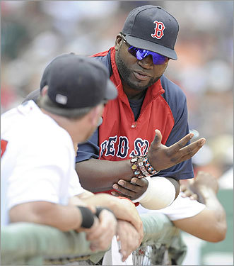 David Ortiz showed his medical wrap to teammates in the Red Sox dugout during the second inning.