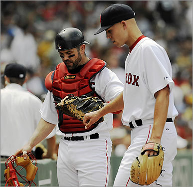 Jason Varitek spoke to starting pitcher Justin Masterson as they walked off the field at the bottom of the first inning. Masterson allowed only one run on three hits.