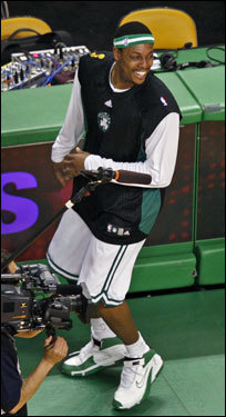 Celtics forward Paul Pierce looked on during warm ups.