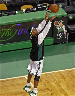 Paul Pierce took a jump shot on the court during warm ups.