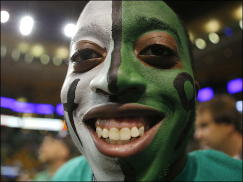 A Celtics fan looked on before the game.