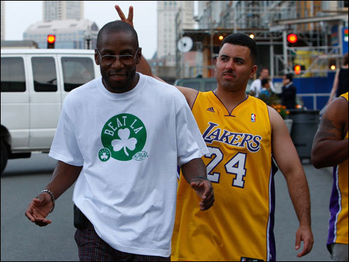 Lakers and Celtics fans walked toward the TD Banknorth Garden before the game.