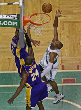 Celtics guard Ray Allen finished over a pair of Lakers defenders in the first half.