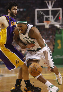 Paul Pierce was bumped on the way to the basket in the first quarter.