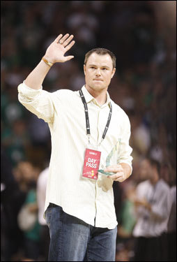 Red Sox pitcher Jon Lester was honored as a 'Hero Among Us' during a break in the action in the first half.