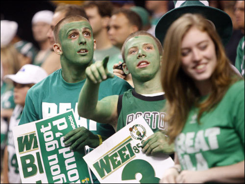 Celtics fans cheered for their team during the game.