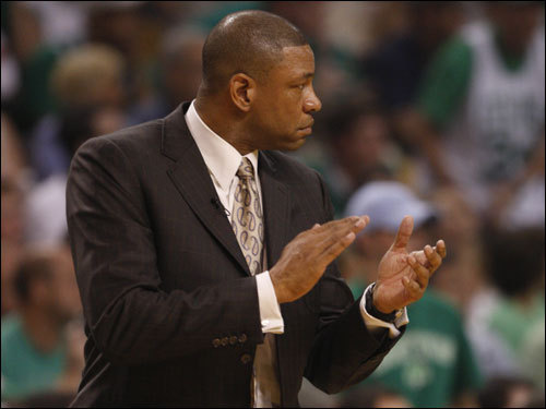 Celtics head coach Doc Rivers applauded his team's effort in the first half.