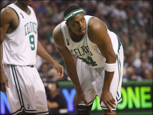 Paul Pierce looked on during a break in the action.