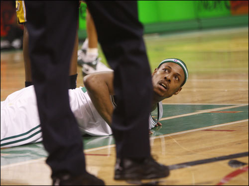 Paul Pierce looked up from the floor during the first half.