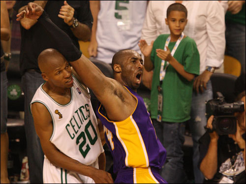 Ray Allen (left) and Kobe Bryant (right) battled for position during the game.