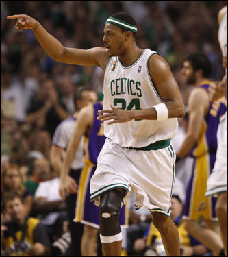 Paul Pierce reacted to hitting a shot in the game.