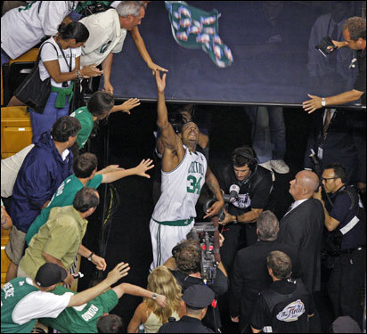 Paul Pierce celebrated with fans after the Celtics 108-102 victory over the Lakers in Game 2.