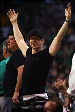 Actor and Boston native Donnie Wahlberg was fired up during the Celtics' Game 2 victory.