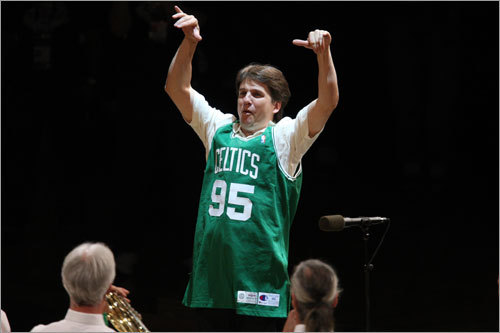 Donning a Celtics jersey, Boston Pops conductor Keith Lockhart directed the playing of the Star-Spangled Banner at Game 2.
