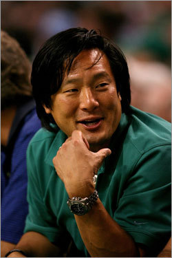 Celebrity chef Ming Tsai sported his finest Celtic green to Game 2 of the NBA Finals.